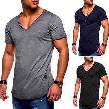 Messieurs Oversize Biker T-shirt ovale Chemise Longue Longtee Longline Clubwear Nouveau