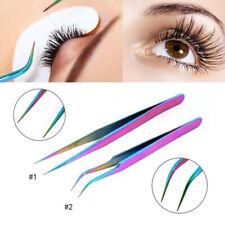 Eyelash Tweezers Curved Flat Clip Extension False Lash Applicator Clamp