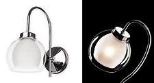 Lampadario Luce Parete Finitura Cromata in Vetro Satinato Moderno RACCORDO retrò in metallo