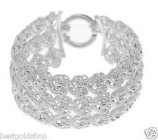 Polished Multi Row Wide Rosetta Bracelet REAL 925 Sterling Silver QVC J280304