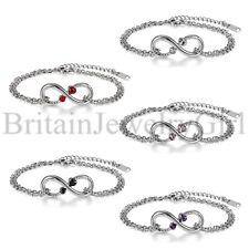 Fashion Women Girl 2MM Love Charm Infinity Bracelet Silver Stainless Steel Cuff