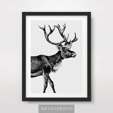 Palchi di cervo art print poster animali RENNA NERO BIANCO ARREDAMENTO Illustrazione