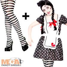 Femme endommagé poupée zombie adulte Halloween Costume Robe Fantaisie Perruque Collants Tenue