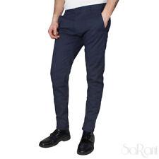 Pantaloni Uomo Blu Microfantasia Tasca America Elegante Casual Cotone SARANI