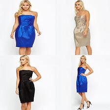 Plisado Vestido de palabra de honor Blusa Negro Azul Arena Talla S M