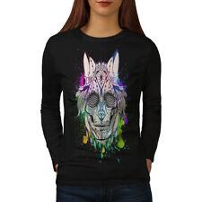 Tribal Funky Death Skull Women Long Sleeve T-shirt NEW | Wellcoda