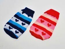 Hunde Pullover Wolle gestrickt - rot/rosa oder blau/hellblau - S / M