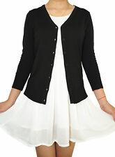 Women Fitted Cardigan V-Neck 3/4 Sleeve Vintage Soft Knit Basic & Plus Size
