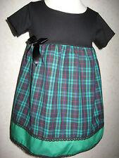 New Girls Black Green Tartan Check Lace Dress Headband set Goth Party Punk Gift