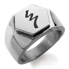 Mens Hexagon Crest Signet Ring Stainless Steel Reiki Raku Completion