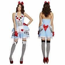 Deluxe Damen Alice Im Wunderland Kostüm Blau Kleid Haarschleife S-L