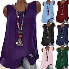 Womens Cotton Linen Sleeveless Baggy T-shirt Vest Tee Blouse Tank Tops Plus Size