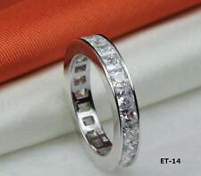 6.38 CTW CZ EMERALD CUT ETERNITY ENGAGEMENT RING WEDDING RING~22 STNS~ET14~MXF
