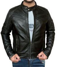 Men's Black Genuine Leather Short Collar Jacket