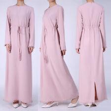 Women Long Sleeve Party Muslim Maxi Dress Kaftan Abaya Hijab Islamic Clothing