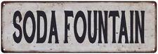 SODA FOUNTAIN Vintage Look Rustic Metal Sign Chic Retro 106180035138