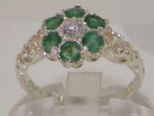 Solido 9 kt oro bianco con Smeraldo e Diamante Vintage Anello Daisy