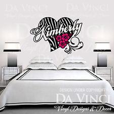 Personalized Zebra Print Heart Flower Hibis Custom Name Vinyl Wall Decal Sticker