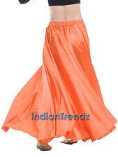 Orange - 360 Full Circle Satin Long Skirt Swing Belly Dance Costume Tribal