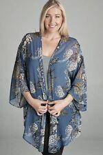 Emerald USA Floral Sheer Chiffon Open Cardigan Wrap Jacket Blue - Plus 1X 2X 3X