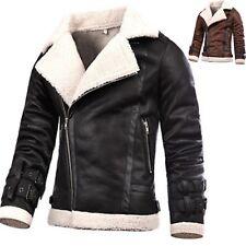 Mens Modern Suede Coat Synthetic Sheep Lamb Skin Blazer Jacket Jumper Top T007