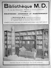 PUBLICITÉ 1931 MD . BIBLIOTHÈQUE ESTENSIBLES ET TRANSFORMABLES - ADVERTISING