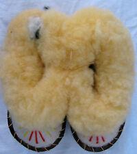 Kinder Lammfell Pantoffeln Winter Warm Ledersohle