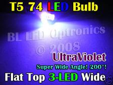 2x Wide Angle T5 74 Wedge 3 LED 12V Dash Ultraviolet UV
