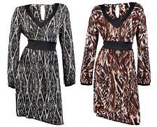 WOMENS WRAP ANIMAL PRINT STRETCH DRESS TIE BELT KNEE LENGTH SKIRT LADIES 8 - 12