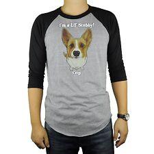 Corgi Dog Baseball Raglan T-Shirt Tri Blend Soft Fitted Tee Cute Stubby Short