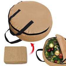 "Heavy Duty Christmas Wreath Storage Bag w Handles for 24"" 30"" Wreath Clean up"
