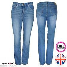 Nueva camiseta para mujer Jeans Denim azul se desvaneció y Bootleg Suelto Pantalones informal señoras 8 16