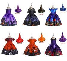 Halloween Kids Girls Spooky Haunted  Cat Ghost Bat Childrens Fancy Dress Gown