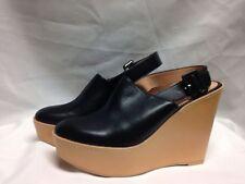 Robert Clergerie French Slingback Platform Sandal 38 7 1/2 Black/Tan New w/ Box
