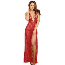 Sexy Women Deep V Long Dress Lace Night Gown Sheer Sleepwear G-string Lingerie
