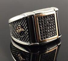 .925 Sterling Silver Zirconia and Black Onyx Stone Men's Ring -US Seller - K8B