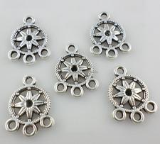 40/300pcs Tibetan Silver earring flower Connectors Charms Beads 13x18mm