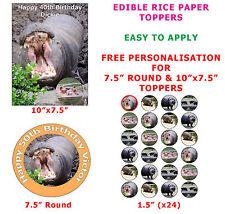 Personalised Hippo Hippopotamus Birthday Cake/Cupcake Topper On Rice Paper