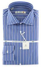 New $600 Borrelli Blue Striped Shirt - Extra Slim - (2018032127)