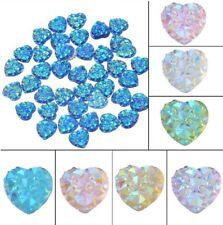 Sparkling Diamond Heart Cabochons Resin Cabochon Flat Back Bling Crystal 9.5mm