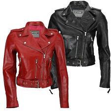 Ladies 100% Real Soft Leather Slim Fit Short Retro Rock Biker Jacket Black Red