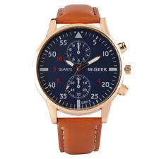 Casual Black Blue Brown Leather Strap Men Military Analog Quartz Wrist Watch