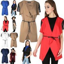 Womens PVC Cap Sleeve Tie Belt Duster Coat Ladies Cape Cardigan Waterfall Blazer