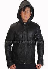 Men Real Sheep Leather Black Hooded Slim Fit Jacket