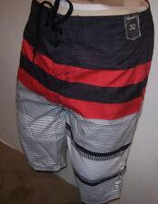 New O'NEILL red black white stripe board shorts swim 30 32 33 34 Full Length