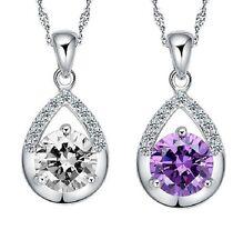 Sterling Silver Necklace Swarovski Element Crystal Love Heart Pendant Gift BoxE4