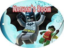 PERSONALISED LEGO BATMAN LARGE 190MM x 140MM OVAL DOOR PLAQUE & FIXINGS