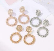 Trendy Fashion Circle Gold Silver Color Geometric Big Round Earring Circle Drop