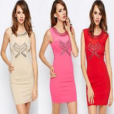 Womens Mesh Insert Embellished Bodycon Dress