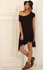 Oversize Tie Dye Shirt Dress S 8 10 12 M L Stretch Boho Black Asymmetrical Gypsy